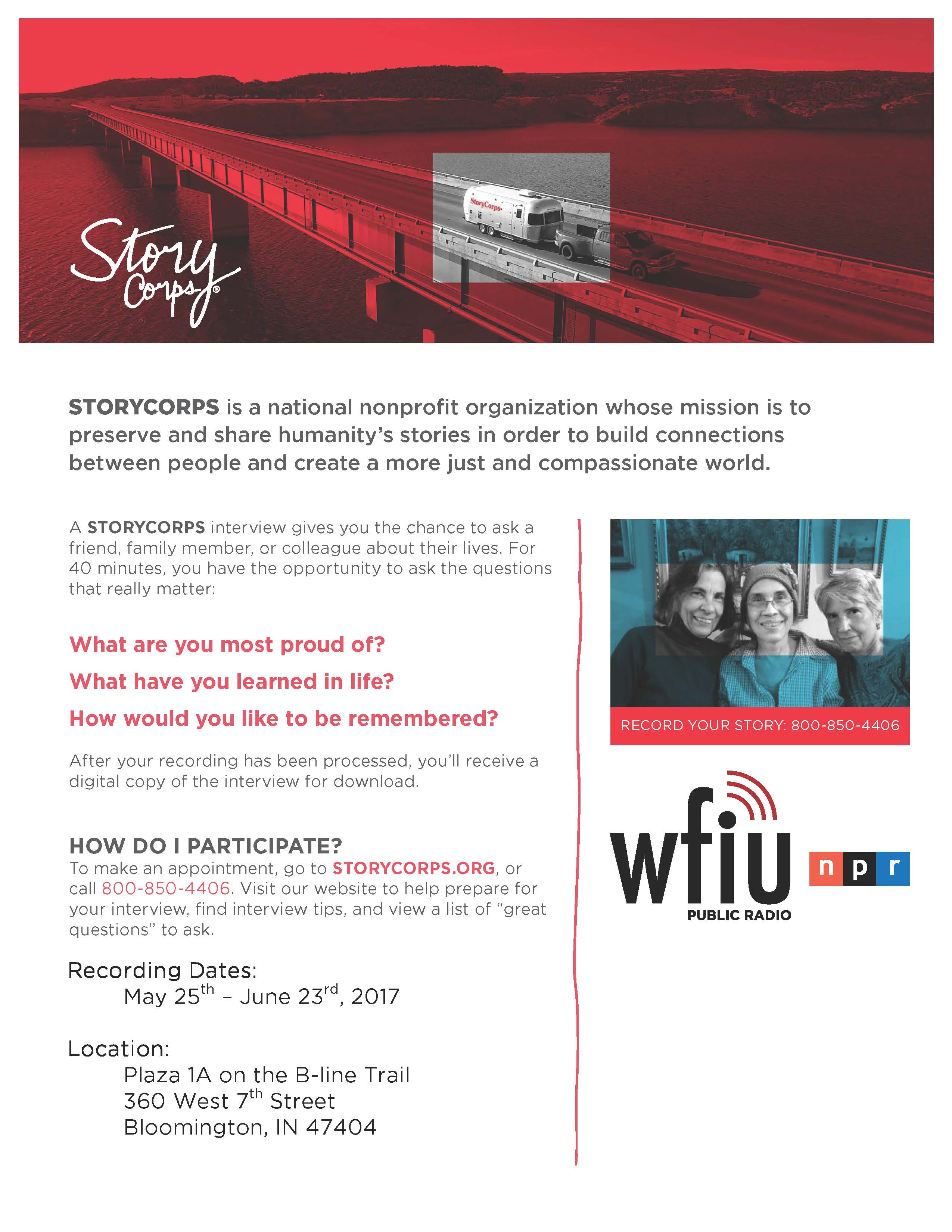 Story Corps Is Coming To Bloomington And Wants To Hear From You! For More  Information Or To Sign Up, ...